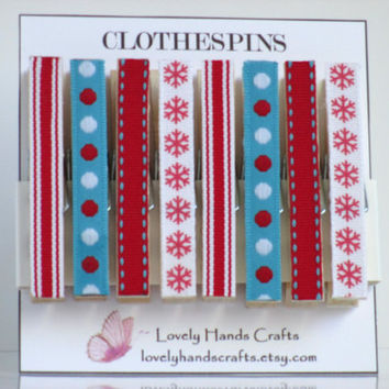 Decorative Wooden Christmas Clothespins, Red , White and Blue , Set of 8