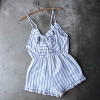 bow back striped front surplice romper with ruffle hem