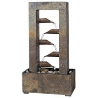 Natural Slate Water-Drop Table-Top Fountain with River Stones