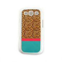 Accessory Case for Samsung Galaxy S3 Cheetah Print Pink Turquoise Hard White Case