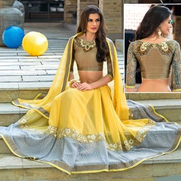 Yellow Georgette Saree with Blouse - SAREE - Women