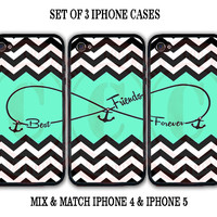 Personalized Mint Black Chevron BFF Best Friends iPhone Case - 3 iPhone 5 Cases