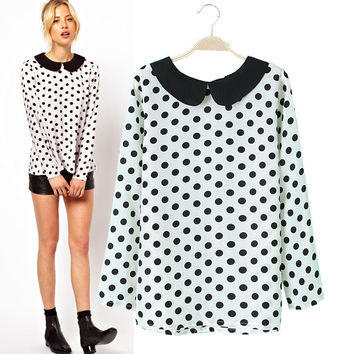 Chiffon Polka Dot Peter Pan Collar Long Sleeve Blouse