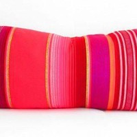Red Long bolster pillow cover, Tribal Aztec Mexican Throw Lumbar Cushion - Available in 3 colors!