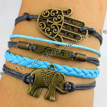 The hand of Fatima, Faith and Elephant Charm Bracelet in Bronze - Personalized, Friendship Gift - bridesmaid Gift Gift - best choice