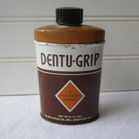 Vintage Apothecary Tin Dentu-Grip Powder Block Drug Co NJ