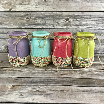 Candy Party Painted Mason Jars