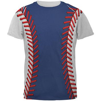 Baseball League Blue and White All Over Mens T Shirt