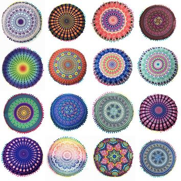 Unisex Mandala Yoga Bohemian Round Meditation Cushion Cover with Tassels - Multiple Prints Available!!