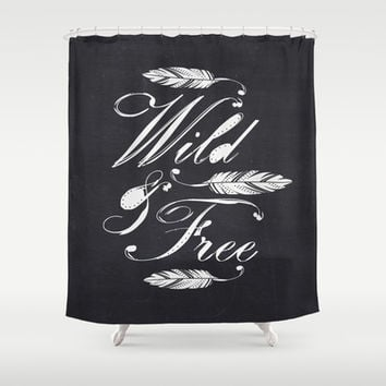 Wild & Free-White/Black Shower Curtain by Bohemian Gypsy Jane | Society6