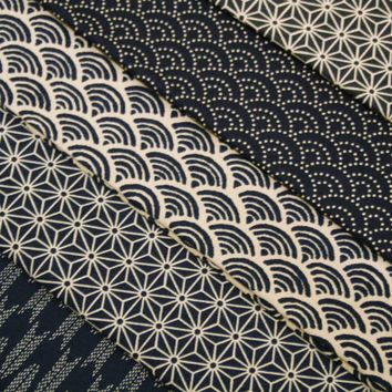 Indigo Blue Geometric Japanese cotton fabric pack - 5 fat quarters