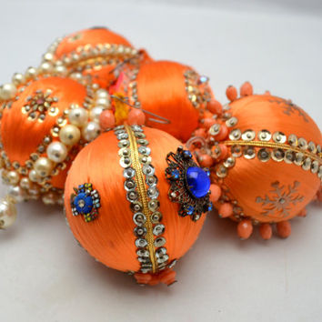 Vintage Beaded Christmas Ornaments, Orange Ornament Lot of 5, Exquisitely Jeweled, Faux Pearls and Sequins, 1960s
