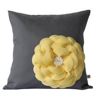 Butter Yellow Felt Flower PILLOW COVER Charcoal Gray Linen with Cream Ceramic Button by JillianReneDecor Summer Home Decor Gift Under 50