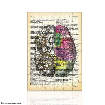 Left right brain Puzzle-anatomy jigsaw puzzle-book art puzzle-brain puzzle-Toys & Games-gift for doctor-Christmas gift-NATURA PICTA-NPZ003