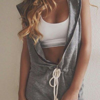 Grey Hooded Drawstring Waist Zippered Romper