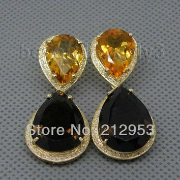 14KT Yellow Gold Vintage Solid Citrine & Smoke Mystic Topaz Earrings