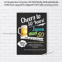 Cheers & Beers Birthday Invitation Beer birthday chalkboard design Beers 30th 40th 50th 60th 70th 80th 90th birthday any age- card 694