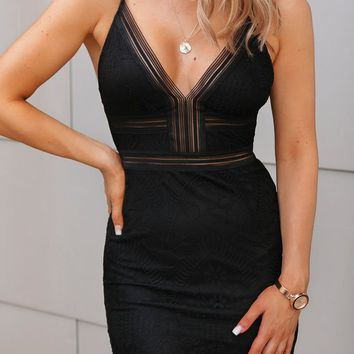 Carmen Black Lace Bodycon Mini Dress
