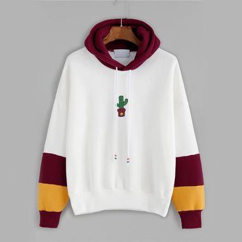 Red Cactus Embroidery Drawstring Hoodie