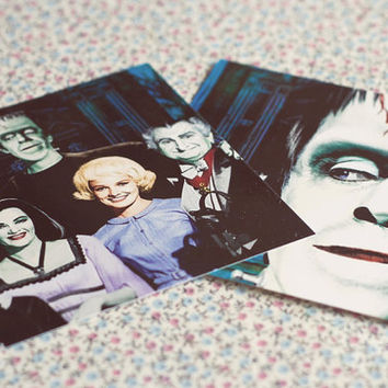 The Munsters Photographs-set of 2 wall decor.Classic horror monsters.The Munsters spooky tv show.Herman Munster.Polaroid Print.Photo decor.