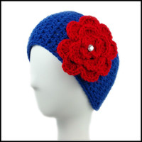Royal Blue Earwarmer with Red Flower