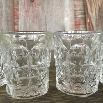 Mid century bar shot glasses, vintage glassware barware, bar cart shot glasses, heavy pressed 2 oz glasses, vintage whiskey tequila shooters