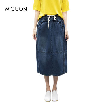 Skirts woman Fashion Casual denim loose straight skirt for women Drawstring High elastic waist Mid-Calf length pockets back fork