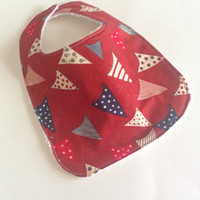 Flag baby bib,July 4th Baby bib,Baby's first July 4th bib,American flag bib, July 4th baby,Red white and blue bib,Babys first 4th of July