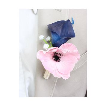 Real touch poppy calla lily boutonniere- navy blue soft pink prom dance homecoming wedding