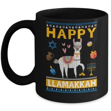 DCKIJ3 Happy Llama Llamakkah Hanukkah Ugly Sweater Mug