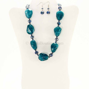 Rhodium Dark Turquoise Iridescent Gemstone Necklace Set