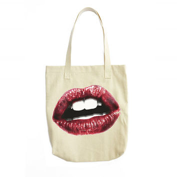Lips Tote Bag, Cotton Tote Bag, Lips Print, Tote Handbag, Fashion Illustration, Gift For Women, Womens Fashion, Fabric Handbag, Girl Gift