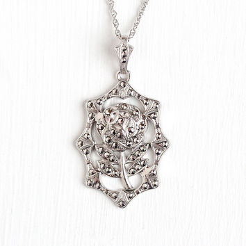 Vintage Art Deco Sterling Silver Rose Flower Marcasite Pendant Necklace - 1930s Floral Milgrain Statement Jewelry Charm on 18 Inch Chain
