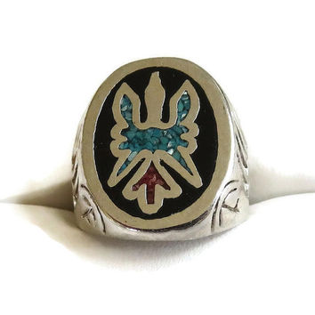 Vintage Silver Turquoise & Coral Ring with Thunderbird and Bear Paws - Size 8.5
