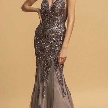Charcoal Long Prom Dress with Sequin-Appliques