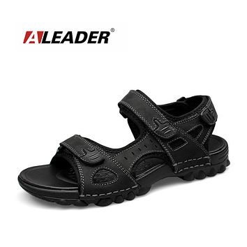 Mens Leather Outdoor Sandals Summer Outdoor Men Shoes Sport Sandals Men Breathable Beach Slippers
