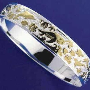 SILVER 925 HAWAIIAN BANGLE BRACELET SEALIFE SMOOTH EDGE 12MM 2 TONE