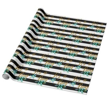 Elegant Black and White Stripes With Blue Floral Wrapping Paper