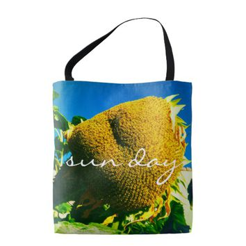 """Sun day"" quote yellow sunflower photo tote bag"