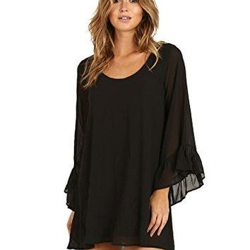 Show Me Your Mumu Women's Boomerang Low Back Dress, Black Chiffon, L