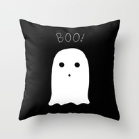 Ghost Doodle Throw Pillow by Laurel Mae