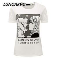 DCCKLW8 I Want To Be A Cat Manga T-Shirt Pastel Goth Anime Grunge Goth Tumblr Clothing Kawaii Hipster Punk Indie Homies Cute