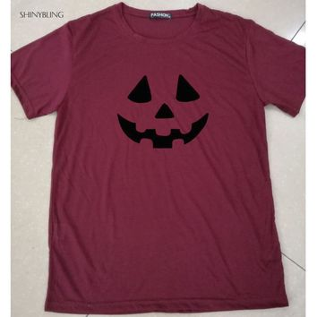 Shinybling Halloween Pumpkin T Shirt Women Harajuku Graphic Tees Tops Plus Size Funny Tshirts Casual Holiday Tee Shirt Femme
