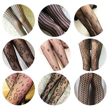 TFGS Hot Design grid hollow out nets Women sexy panty hose Silk stockings tattoo pantyhose Stockings(Black)
