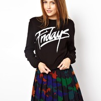 ASOS Cropped Sweatshirt with Fridays Print