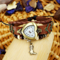 Vintage Ethnic Handmade Beaded Heart-shaped Bracelet Watch with a Riding Boot