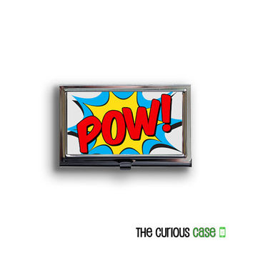 Business Card Case Comic Book POW Action Superhero Metal Case Fits Business Credit Debit and Gift Cards