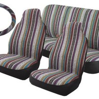 Baja Inca Saddle Blanket Seat Covers Full Set High Back Bucket Seat Pair Rear Bench Set