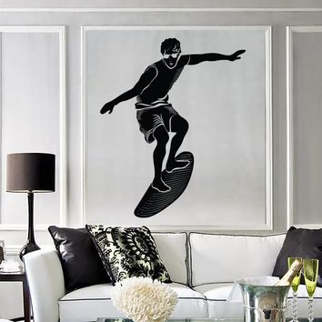 Wall Stickers Vinyl Surf Surfing Surfer Board Water Sport Ocean (z1642)