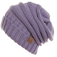 Unisex Soft Stretch Oversized Knit Slouchy Beanie (Violet)